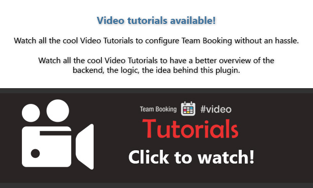 team booking wordpress plugin video tutorials